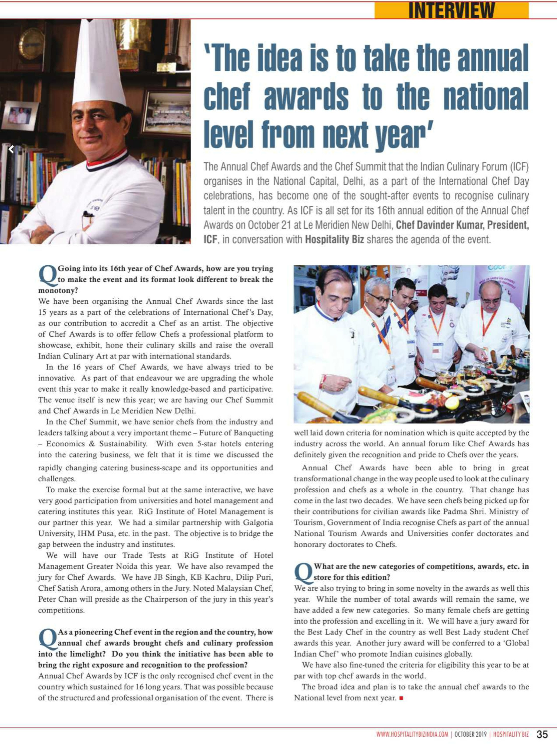 The idea is to take the annual chef awards to the national level from next year